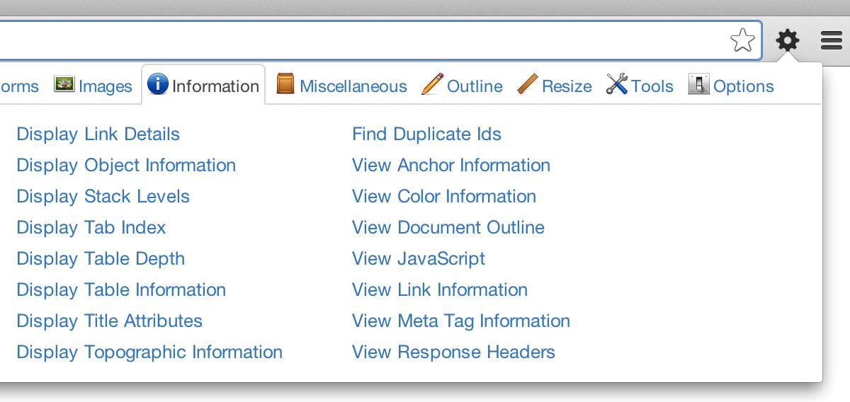 Web developer screengrab.